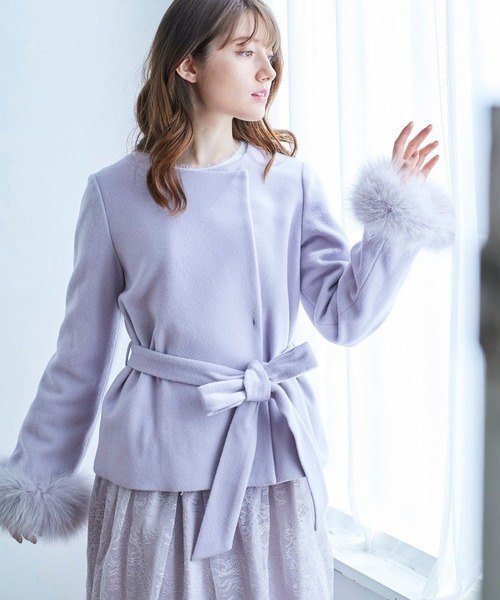LuxyStar日本代購 MISCH MASCH田中美奈實著用可拆狐貍圈毛袖腰綁帶外套(原價9800元)